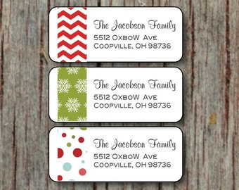Christmas Return Address Labels - Personalized Holiday Label Stickers - 60 Custom Red Green Chevron Snowflake Return Address Labels - 004