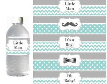 Little Man Water Bottle Labels Prinable Mustache Baby Shower Decorations INSTANT DOWNLOAD Party Favors Bottle Labels Light Teal Grey 033