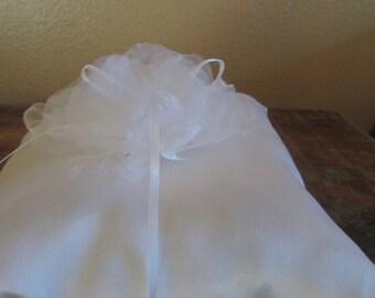 Delicate White Satin Ring Bearer Pillow