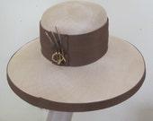 Vintage 1960 Hat Anita Pineault Hat Large natural straw Hat brown Hat Big Brim Hat Garden Party Derby Hat Hat