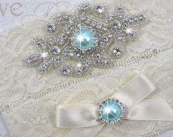 SALE - RACHEL - Aqua Blue Pearl Wedding Garter Set, Wedding Stretch Lace Garter, Rhinestone Crystal Bridal Garters, Something Blue