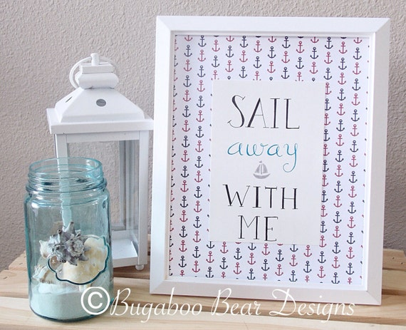 Sail Away With Me Nursery Art, Nautical Nursery Art, Nautical Decor, handmade wall art, Anchors decor