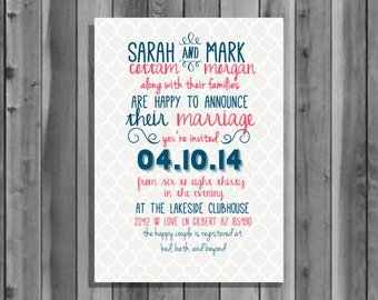 Wedding Invitation, digital file download, printable, personalized, customized, calligraphy, invite, blue, red