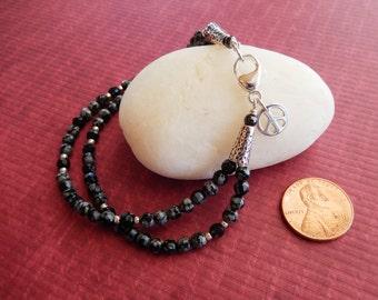 Delicate Snowflake Obsidian Double-strand Bracelet