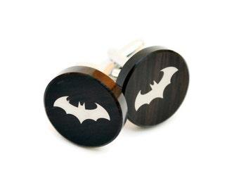 Batman Cufflink, custom cufflinks, damask print on the obsidian stone, FREE SHIPPING, gift box, groom accessories, superheros cufflink