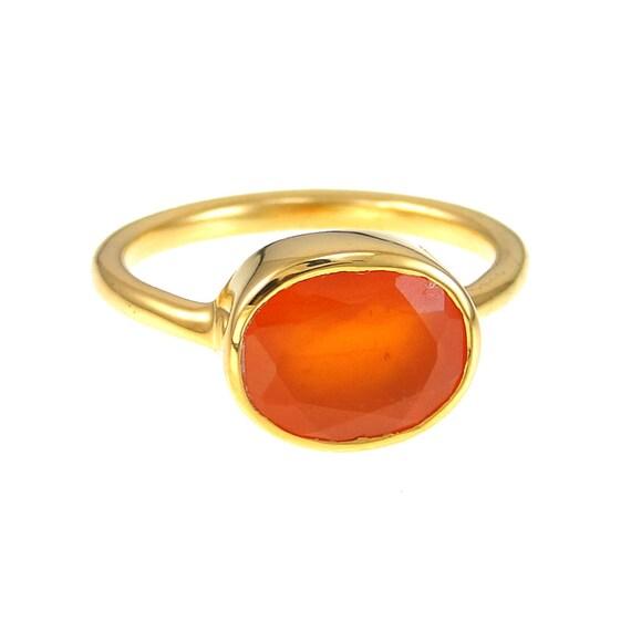 carnelian ring orange gemstone ring stackable ring bezel