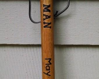 Personalized Wood Burned Pyrography Wooden Hiking Walking Stick Staff
