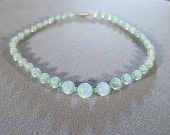 Vintage 16 Inch 1940's Necklace with Blue and Green Round Glass Beads  B