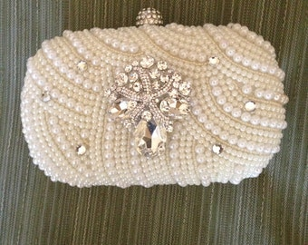 Evening Clutch Bag, Pearl Clutch, Beach-Themed Clutch Bag, Formal Clutch, Wedding Clutch