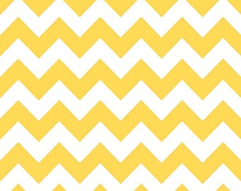 Fat Quarter  Medium Yellow Chevron Riley Blake Cotton Fabric