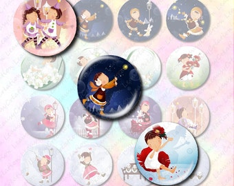 Digital collage sheet, little girl 1 inch circle, instant download, digital download cabochon, craft supplies and tools, digital image