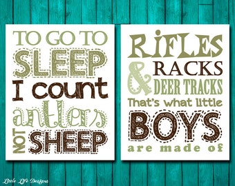 Hunting Nursery Decor. Rifles, Racks, & Deer Tracks and To go to SLEEP I count Antlers not SHEEP. Hunting Decor. Boys Hunting Signs. 2 Signs