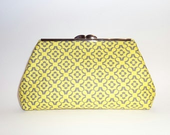 Yellow and Gray, Flower Print Clutch