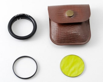 Vintage Nebro 28.5mm Glass Filter Holder plus Green Lens Filter and Pouch - 29mm Diameter Push Fit Slip On