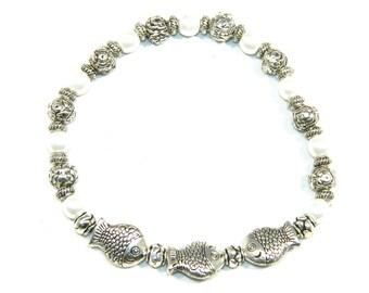 C-0186 - Tiebtan Alloy Mixed Bead Bracelet - 18cm