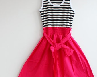 Clearance SALE Summer Flare Tank Top Dress with Self Tie Bow Cute Short Dress Self Tie Bow Dress in Jade, Green, Black and Hot Pink