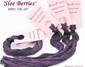 Hand dyed embroidery cotton thread for cross stitch - 'Sloe Berries'