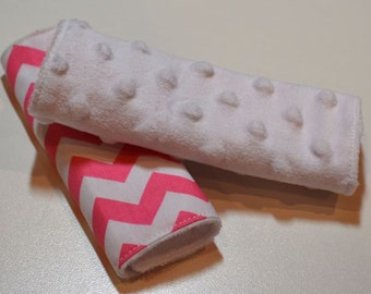 Car Seat Strap Covers - Hot Pink Chevron