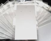 White Plain Earring Display Cards & Self Adhesive Bags