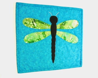 Dragon Fly Art Quilt Lake Nature Small Fiber Art