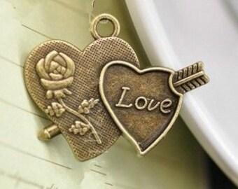 30 pcs   antiqued bronze Heart Shaped Pendant  double heart Charm Pendants 28×26mm
