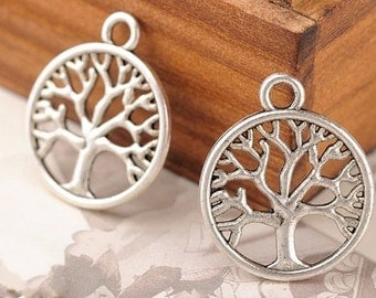 DIY jewelry -50 pcs antique silver  tree pendant  20x24mm tree charm pendant