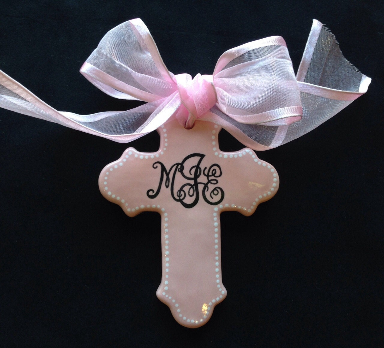 Baptism Christening Baby Metal Ornament: Pink Personalized Cross Ornament Easter Baptism Christening