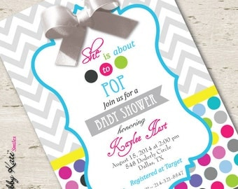 About to Pop Baby Shower Invitation Bright Polka Dots