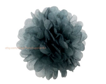 "Gray Tissue Paper Pom Poms Flowers * 14"" Large Tissue Paper Flowers * wedding,bridal shower,birthday party,nursery,college dorm"