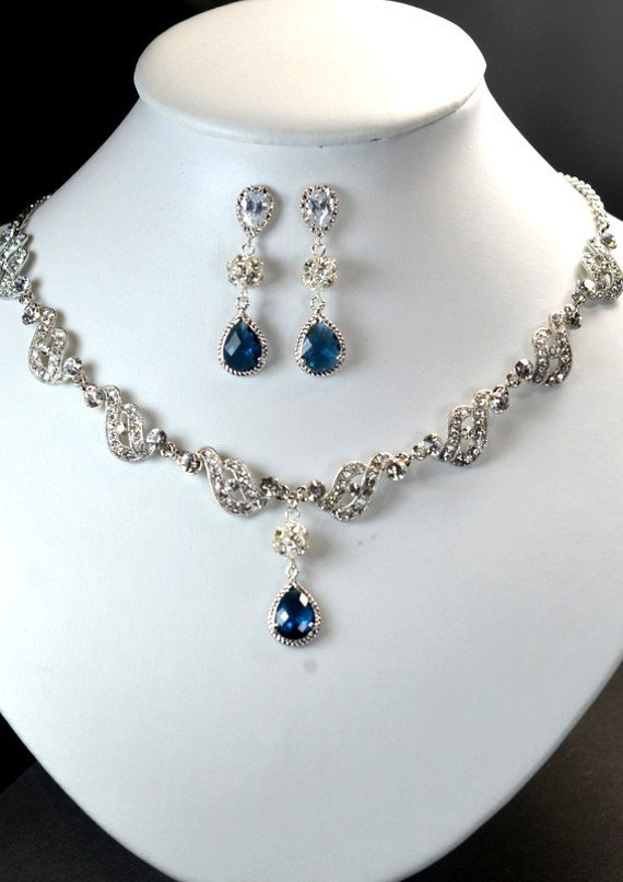 Wedding Gift Jewelry : Wedding Jewelry Bridesmaid Gift Bridesmaid Bridal Jewelry navy blue ...