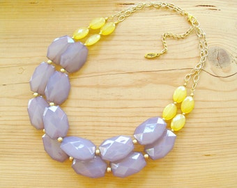 Grey and Yellow Necklace, Yellow and Grey statement necklace