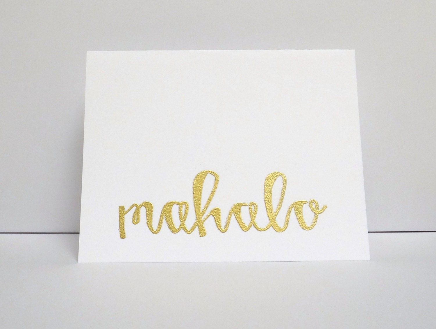 Mahalo modern calligraphy heat embossed greeting by