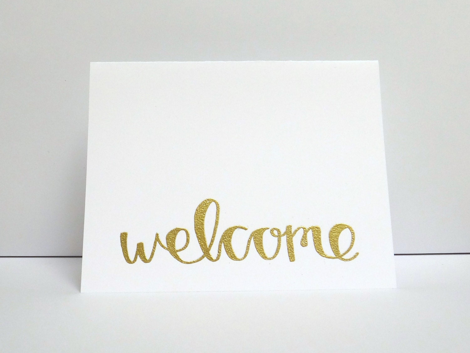 Welcome modern calligraphy heat embossed greeting by
