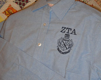 RETIRED: ZTA Crest Women's Oxford Button Down Shirt (limited quantities)