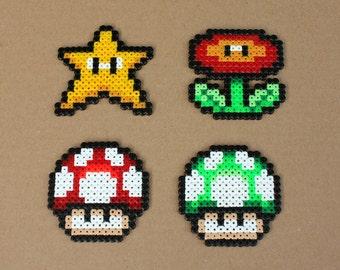 Super Mario items Perler Hama Bead Sprites