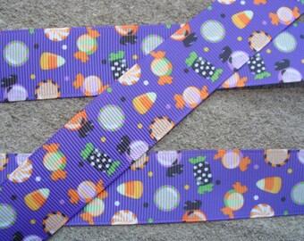 """Halloween Printed Ribbon 1"""" Candy Corn Ribbon Ghost Ribbon Pumpkin Ribbon Hair Bow Ribbon Craft Supplies#001"""