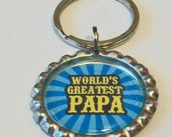 Blue Stripe World's Greatest Papa Grandfather Metal Flattened Bottlecap Keychain Great Gift