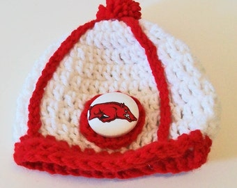 Red and White Arkansas Inspired Hand Crocheted Baby and Childrens Baseball Cap Hat Great Photo Prop 5 Sizes Available