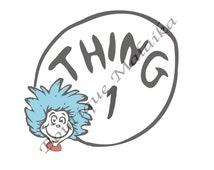 Thing 1 High Res Digital Download for Custom Gifts/Iron-Ons-Instant Download! Dr. Seuss