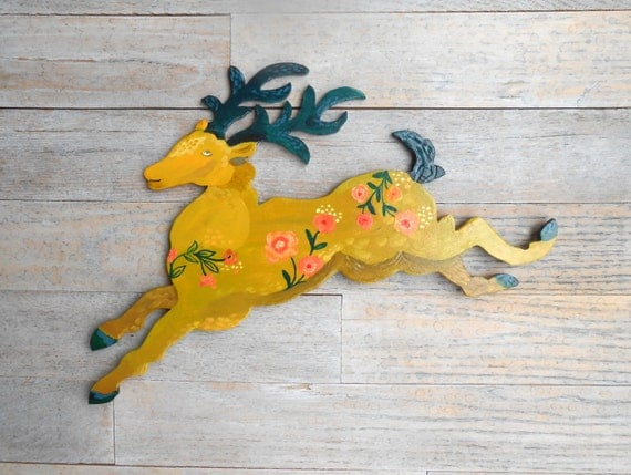 Stag wood wall sculpture by Kimberly Hodges, wood wall sign, stag sign, wall decor, reindeer, deer art, wall art, stag art, xmas deer