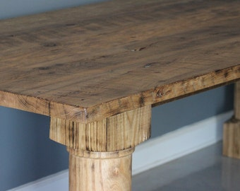 Salvaged Rustic Table with Hand Turned Legs  Solid White Oak Dining Table,  Reclaimed