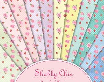 Shabby Chic Roses Scrapbook Paper Pack. For Digital Invites, Digital Card Making, Digital Scrapbooking