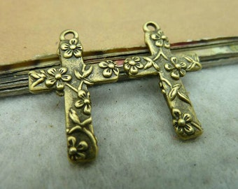 10 pcs 9x17x26mm Antique Bronze Cross Charms Pendants