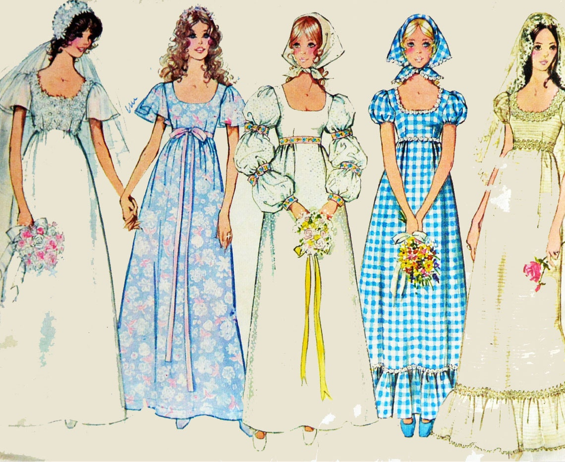 70s wedding dress pattern vintage empire waist puff sleeve for Wedding dress patterns vintage