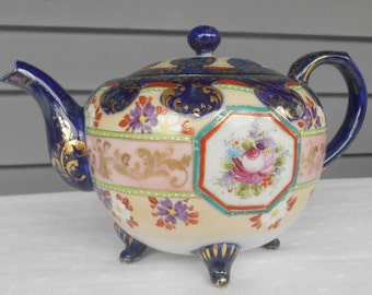 SALE - Antique Flow Blue Teapot - Spectacular Old Porcelain - Cobalt Blue with Gold Accents