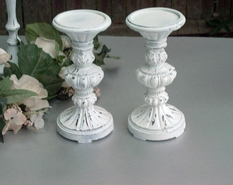 Two Shabby Candle Holders/Wedding Candle Holders/Candle Sticks/Pillar Candle Holders