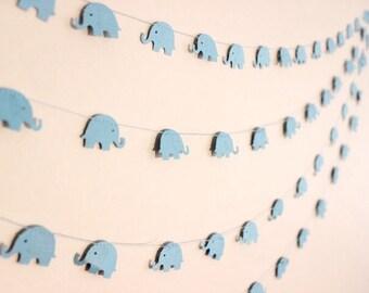 Paper Garland, Baby Blue Elephants. Baby Shower - 1st Birthday - Baby Nursery - Baby Bedroom - Child's Bedroom - Wall Decor.