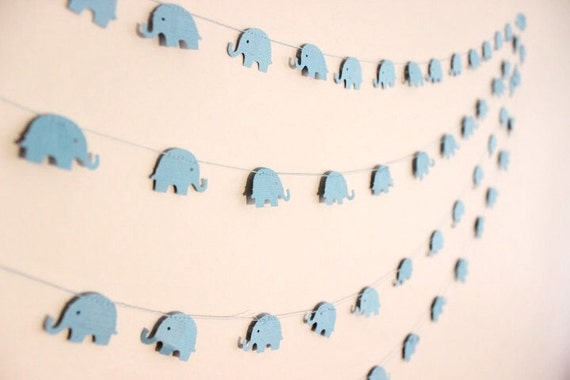 Papier girlande babyblau elefanten baby dusche 1 - Girlande babyzimmer ...