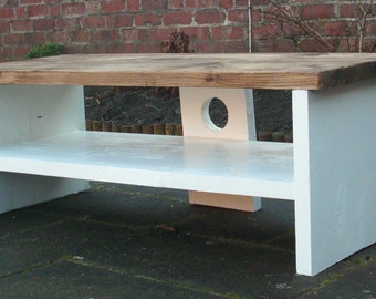 Tv stand top finished in rustic medium oak with a painted base