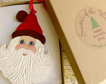 Vintage Style 1901 Santa Ornament Handcrafted Painted Christmas Collectable Tree Decoration